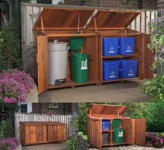 Outdoor Recycling And Trash Storage Solution I Like This But With throughout size 1600 X 1000 Garbage Storage Bins - Stocking something properly today Garbage Storage, Shed Storage, Storage Bins, Storage Solutions, Trash Can Storage Outdoor, Garbage Shed, Storage Containers, Outside Storage Shed, Trash Containers