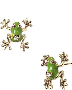 Betsey Johnson FROG STUD EARRING GREEN