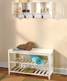 "Keep everything around the front door organized with this Entryway Bench or Wall Shelf. The Wall Shelf (28-1/4""W x 8""D x 12""H) features 4 cubbies for hats, gloves or knickknacks with 3 hooks for hanging coats, scarves and more. Ready to hang. The Bench (31""W x 11-3/4""D x 18""H) gives you a place to sit down as well as 2 shelves for shoes and more. Holds up to 200 lbs. Wooden and metal. Assembly required; assembly hardware included."