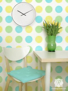Modern Graphic Polka Dot Wall Stencil | Dot Dot Dot Polka Dot Stencil | Royal Design Studio