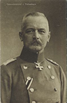 """Erich von Falkenhayn letter to Kaiser - """"The string in France has reached breaking point. A mass break-through - which in any case is beyond our means - is unnecessary. Within our reach there are objectives for the retention of which the French General Staff would be compelled to throw in every man they have. If they do so the forces of France will bleed to death."""" -Falkenhayn to Kaiser Wilheim II"""