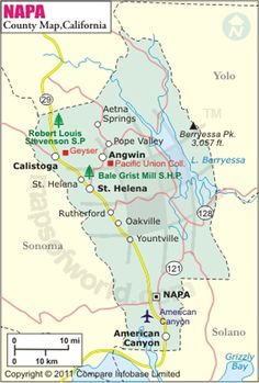 Explore The Detailed Map Of Napa County California Usa Printable Napa County Map Ca Showing The County Boundaries County Seat Major Cities Highways