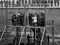 The Lincoln conspirators moments before their execution on July 7, 1865 at the Washington Arsenal.  Mary Surratt was the first woman executed by the US.