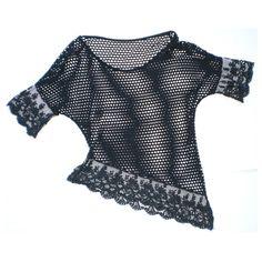 Maglia nera a rete taglio diagonale