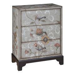 botanical inspired three drawer accent chest