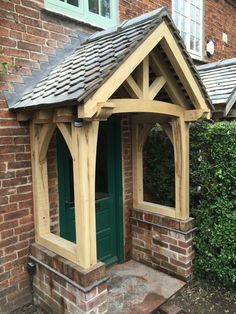 Traditional Oak porch at Alvaston, Derby. Porch Extension, Front Porch, Front Doors, Porches, Derby, Gazebo, Outdoor Structures, Cabin, Traditional
