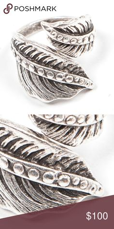 """NATIVE RING Turkish Silver Bohemian Engraved Aztec One Size. Brand New.   • Beautiful ethnic ring featuring an adjustable back & incredible distressed engraved detailing throughout. • Leaf-like and utterly bohemian.  • Will fit any size due to being adjustable.  • Approximately 1.5"""" in length.  • Ring is new in packaging & will be shipped in small gift box.   • Turkish Silver.  • Imported.  {Southern Girl Fashion - Closet Policy}   ✔️ Same-Business-Day Shipping (10am CT). ✔️ Price shown is…"""