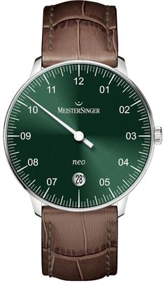 MeisterSinger Watch Neo Sunburst Green Brown Croc Leather Watch available to buy online from with free UK delivery. Luxury Watch Brands, Luxury Watches For Men, Brown Leather Watch, Modern Gentleman, Mechanical Watch, Well Dressed Men, Beautiful Watches, Cool Watches, Crocs