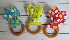 Natural Maple Wooden Teething Ring/ Monaluna by sewbrookstone