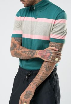 ASOS Knitted Short Sleeve Track Top With Colour Block  from ASOS (men, style, fashion, clothing, shopping, recommendations, stylish, menswear, male, streetstyle, inspo, outfit, fall, winter, spring, summer, personal)