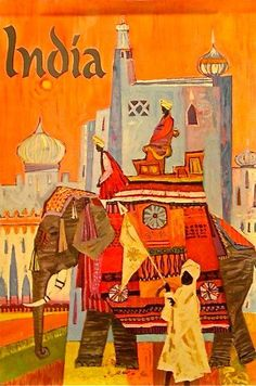 Vintage travel poster – India | NVISION | Cincinnati Handmade & Vintage Clothing, Art, Furniture