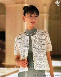 Blanca chaqueta de punto de manga corta (gancho) - Blog de albahaca - Albahaca