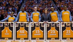 From left, Lady Vols seniors Briana Bass, Shekinna Stricklen, Alicia Manning, Glory Johnson, and Vicki Baugh are pictured with head coach Pat Summitt as they are honored before the start of their game against Florida on at Thompson-Boling Arena on Sunday, February 26, 2012. (SAUL YOUNG/NEWS SENTINEL)