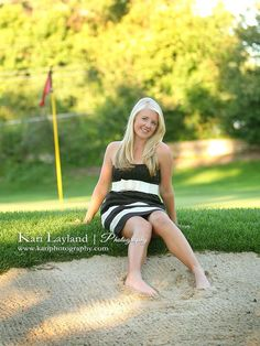I really like this photo! golf senior picture ideas | Golf course senior portrait | Senior Photo Ideas - Girl