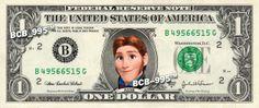 Disney's Hans (Frozen) on REAL Dollar Bill - 1.00 Celebrity Custom Cash