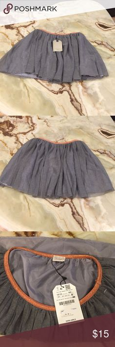 Zara Girls Casual Collection Tulle Pleated 13/14 Zara  Girls Skirt Size 13/14 Color gray, Pleated, embellished waist line, polyester / viscose blend, new with tag Zara Bottoms Skirts