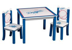 Guidecraft Los Angeles Dodgers Children's Table and Chairs Set 60s Furniture, Discount Bedroom Furniture, Buy Furniture Online, Cheap Furniture, Office Furniture, Dodgers Girl, Dodgers Fan, Dodgers Baseball, Kids Table And Chairs