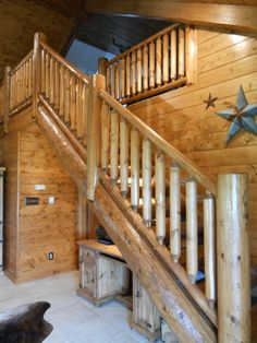 Log staircase built by my dad and Jerry Byrd (dad of CW singer Tracy Byrd)