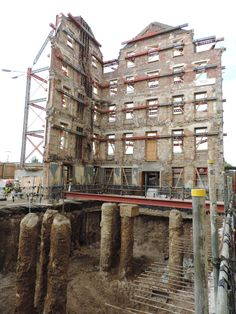 Southampton Hotel redevelopment in progress, 2014. Historic wharf structure revealed.