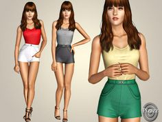A classic shorts jumpsuit. perfect for the day or formal wear. show off those curves you work so hard for! Found in TSR Category 'Sims 3 Female Clothing' Sims 3 Cc Finds, Spring Shorts, Summer Set, Sims Mods, Short Jumpsuit, Short Outfits, Formal Wear, Sims 4, Clothes For Women