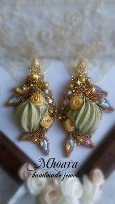 Shibori silk earrings 'Golden Bronze' MHOARA Handmade Italian Jewels