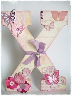 Decorated Letter flowers with button center Paper Mache Letters, Letter A Crafts, Wood Letters, Monogram Letters, Letter Art, Fun Crafts, Diy And Crafts, Crafts For Kids, Arts And Crafts