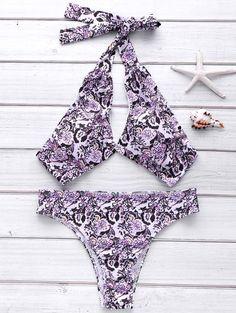 Full Floral Halter Bikini Set buy online store in Europe. Halter Bikini, Flounce Bikini, The Bikini, Tankini, Tribal Bikini, Micro Swimwear, Floral Bikini Set, Zaful Bikinis, Bra Styles