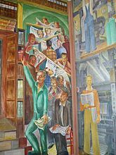Coit Tower Murals - Some of the headlines in the newspapers discuss the creating of the murals Coit Tower San Francisco, Industrial Artwork, Mexican Artists, Diego Rivera, Oil Painting Reproductions, Art Projects, Art Deco, Murals, Fine Art
