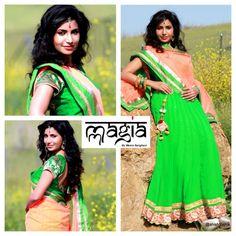 Swathi showcasing the green lehenga with a Peach net dupatta and a rawsilk brocade blouse ...perfect for Mehendi occasion.