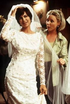 """Mac trying on her dress before her non-wedding to Brumby in """"Adrift (Part I)"""" Classic Actresses, British Actresses, Best Tv Shows, Favorite Tv Shows, Cathrine Bell, Lisa Bell, David James Elliott, The Good Witch, Celebs"""