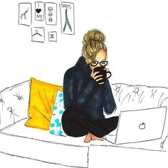 """Working on all of your orders! Thank you for your patience! Xoxox happy Monday night .. this illustration is available in the shop in three different hair colors! Just search """"cozy couch"""" in the shop! ☕️ #melsys #melsysillustrations #fashionillustration #cozy #cozycouch #boston #fashionart #art"""