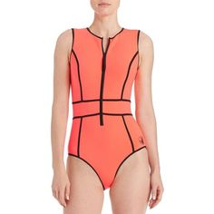 Body Glove Forecast Reminiscence Sleeveless One-Piece ($110) ❤ liked on Polyvore featuring swimwear, one-piece swimsuits, tangy orange, 1 piece swimwear, body glove, body glove swimsuit, one piece bathing suits and body glove swimwear