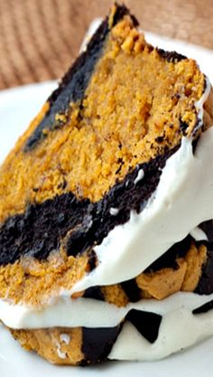 Chocolate-Pumpkin Marble Cake with Cream Cheese Glaze Recipe ~ it's an extremely moist cake... It's dense like a pound cake should be, but it's not heavy.