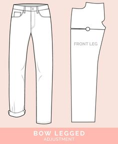 Bow Legged Adjustment // 12 common jeans and pants adjustments // Closet Case Files Sewing Jeans, Sewing Clothes, Doll Clothes, Sewing Blogs, Sewing Hacks, Skirt Pants, Jeans Pants, Trousers, Altering Pants