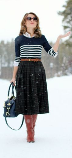 Styling skirts for fall/winter! Don't be shy ladies - mix your favorite prints within the same color palette! We love this plaid and stripe combination, accented with the skinny cognac belt! This look is easy to recreate and can be done with any of your patterns or prints! Where would you wear this look?