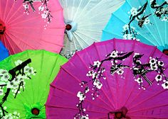 Chinese parasols on display in Fengdu, China