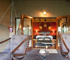 Swinging chairs at Elephant Rock Lodge Romantic Bath, Romantic Escapes, Outside Showers, Private Safari, Game Lodge, Game Reserve, Weekends Away, Swinging Chair, Lodges
