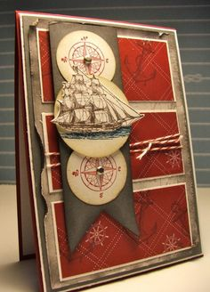 great for masculine card by Carolyn Bennie. Love how the ship pops up! Would work well with nautical Bombshell stamps. Masculine Birthday Cards, Birthday Cards For Men, Masculine Cards, Tarjetas Stampin Up, Stampin Up Cards, Boy Cards, Cute Cards, Karten Diy, Nautical Cards