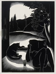 Sultry Day (1935,wood engraving) by Paul Landacre (American, b.1893 d.1963)