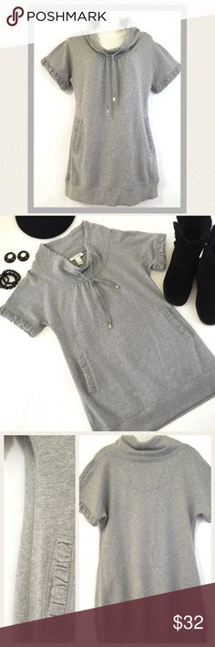 """🆕 Cozy fleece tunic top Adorable warm and cozy grey fleece tunic style top. Can also be worn as a dress. Cute with leggings and boots. Like new condition. Has drawstring cowl neck collar,  ruffled sleeves and ruffled front slit pockets. 🔹Bust 36"""" 🔹Length 30"""" White House Black Market Tops Tunics"""