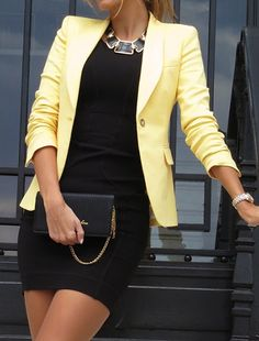 Work attire does not have to be plain Jane professional. Dress it up with this yellow blazer and jewelry and you'll be sure to capture lots of attention. Need to remember : Colorful blazer & jewelry, black everything else.