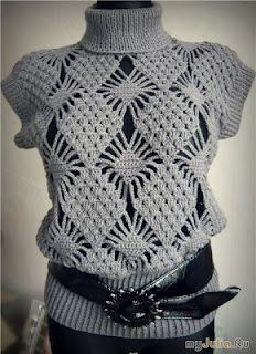 http://www.ann-sophie-design.blogspot.com/2012/02/modische-crochet-mutze-model-sabine-fur.html  Blouse with diagram