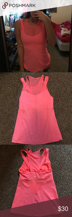 Lulu Lemon hot pink workout top Lulu lemon workout top in great condition and mesh details! Size 2 lululemon athletica Tops