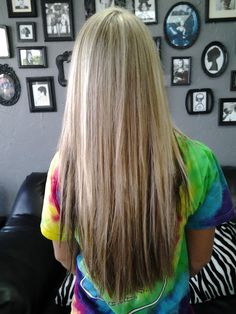 Highlights, Block Color Lowlights, and Disconnected Long Layer Haircut. If this were cut into a V at the end, it would be what I'm trying to grow my hair into ;)