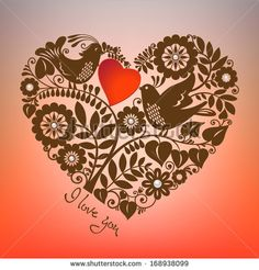 A chocolate color floral heart shape design element and two love birds on coral pink background. White pearls beads make rich accents. I Love You concept. Vector EPS 10 illustration.