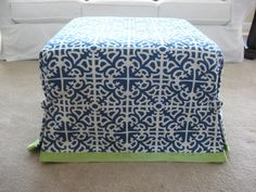 no sew ottoman slipcover...but I think I'd sew the trim