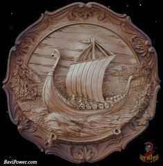 This is lovely! Wood Carving Designs, Wood Carving Patterns, Wood Carving Art, Wood Art, Vikings, Viking Art, Viking Ship, Chip Carving, Cnc Wood