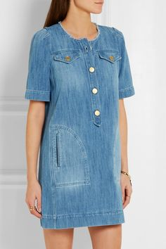 Blue denim Button fastenings along front 100% cotton Machine wash or dry clean