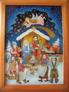 Betlém III.   benackova.cz Nativity, Folk Art, Glass, Frame, Painting, Icons, Poland, Classroom, Decor