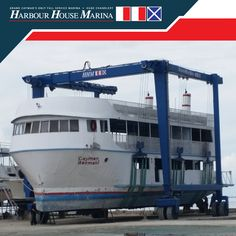 Candid snapshot of our NEW 150 ton Marine Travelift  in operation. The boatlift​ has a capacity of up to 150 tons & 36feet wide enabling lift & haul of multihull & heavier boats safely from our 8feet deep Channel.  #harbourhousemarina #caymanislands #marinetravelift
